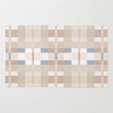 Beige and Blue Color Blocks Geometric Pattern Rug