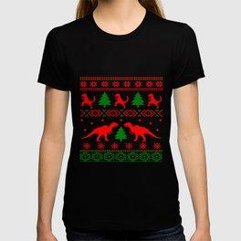 Christmas ugly sweater dinosaur pattern T-shirt