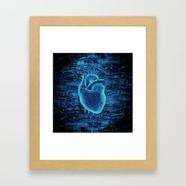 Gamer Heart BLUE TECH / 3D render of mechanical heart Framed Art Print