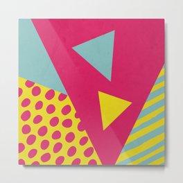 Pink Turquoise Geometric Pattern in Pop Art, Retro, 80s Style Metal Print