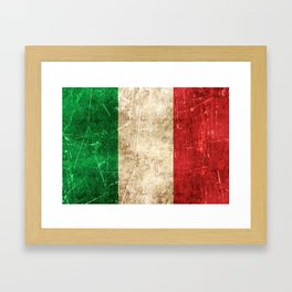 Vintage Aged and Scratched Italian Flag Framed Art Print