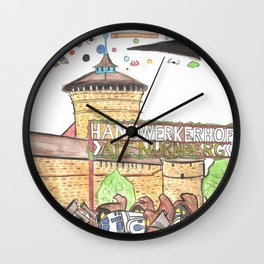 1561 Aerial Battle Over Nuremberg Reimagined from the Handwerkerhof Wall Clock