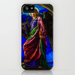 "John La Farge ""The Angel Holding a Lyre (or The Harpist)"" window iPhone Case"