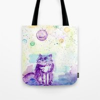 space cat Tote Bags featuring Space Cat! by Colorful Simone