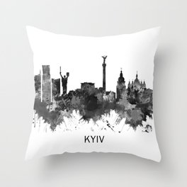Kyiv Ukraine Skyline BW Throw Pillow