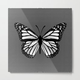 Black and White Monarch Butterfly Etching Metal Print