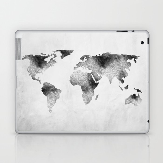 World map hammered metallic monochrome laptop ipad skin by world map hammered metallic monochrome laptop ipad skin gumiabroncs Gallery