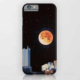 Blood Moon Over Pittsburgh Pennsylvania Skyline-Night Sky and Stars iPhone Case