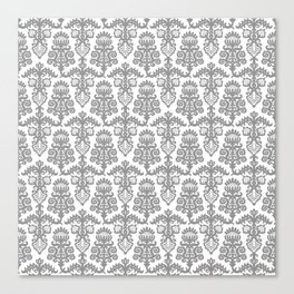 Floral Pattern Gray Canvas Print