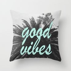 good vibes palm tree Throw Pillow