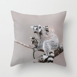 RINGTAILED LEMUR FAMILY by Monika Strigel Throw Pillow
