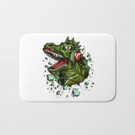 Dino with Headphones Brown Raw Umber Bath Mat