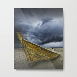 Beached Boat with Storm Brewing Metal Print