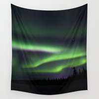 northern lights Wall Tapestries featuring Northern Lights by Pamela Barron