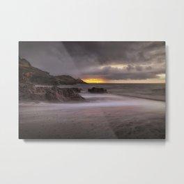 Stormy sunrise at Bracelet Bay Metal Print