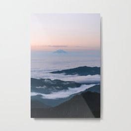 Mount Rainier Sunset Above the Clouds Metal Print