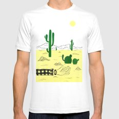 Man & Nature - The Desert White Mens Fitted Tee MEDIUM