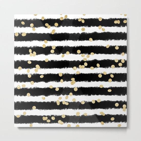 Modern black watercolor stripes chic gold confetti Metal Print