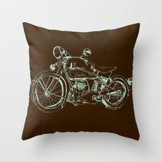 Vintage Indian Motorcycle Throw Pillow