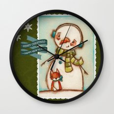 Fox and Friend - Snowman and Fox in the snow Wall Clock