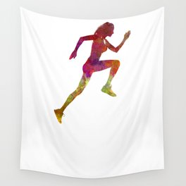 Woman runner running jogger jogging silhouette 02 Wall Tapestry