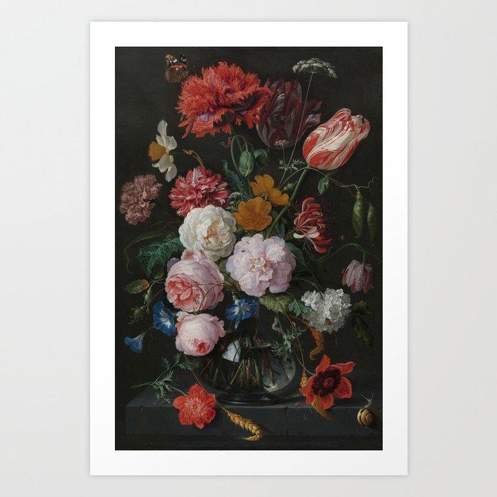 Still life with flowers in a glass vase, Jan Davidsz. de Heem, 1650 - 1683 Kunstdrucke