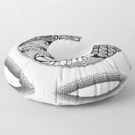 Zentangle C Monogram Alphabet Initials Floor Pillow
