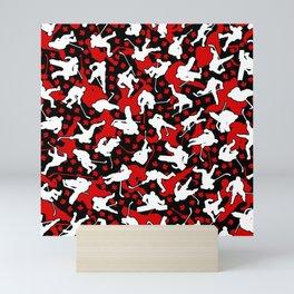Ice Hockey Player Canada Flag Camo Camouflage Pattern Mini Art Print