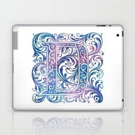 Letter D Antique Floral Letterpress Monogram Laptop & iPad Skin