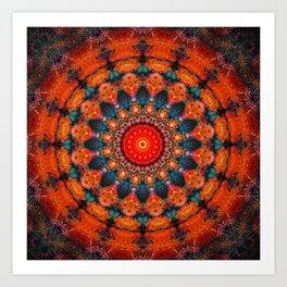 Tangerine Orange Mandala Design Art Print