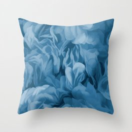 Midnight Blue Petal Ruffle Abstract Throw Pillow
