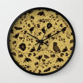Orchid Owl Yellow Wall Clock