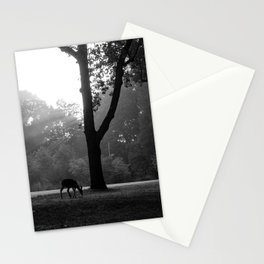 God Rays and Deer Black and White Print Stationery Cards