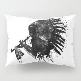 Indian with Headdress Black and White Silhouette Pillow Sham