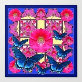 CERISE PINK & BLUE BUTTERFLIES FLORAL ART Canvas Print