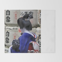 Geisha Maiko Photo Throw Blanket