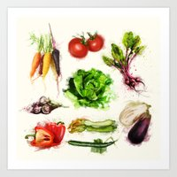 vegetables Art Prints featuring vegetables by Zazie-bulles