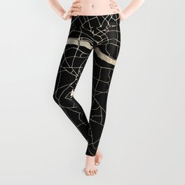 London Black on Gold Street Map II Leggings