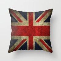 british flag Throw Pillows featuring British flag by Beauti Asylum