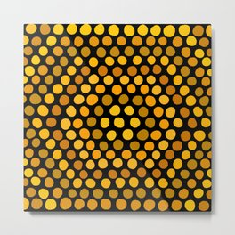 Honeycomb Ombre Dots Pattern Metal Print