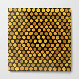 Honeycomb Ombre Dots Pattern Metal Print
