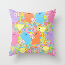Bunnies and Friends Throw Pillow