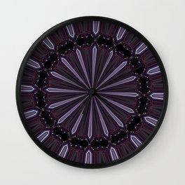 Eggplant and Pale Aubergine Abstract Floral Pattern Wall Clock