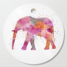 Artsy watercolor Elephant bright orange pink colors Cutting Board