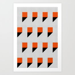 A lot of orange 3d Commas, planted in a carpet with black dots. Art Print