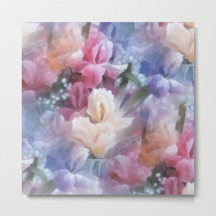 Sweet watercolor irises Metal Print