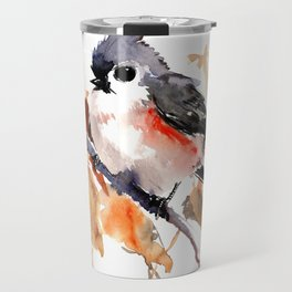 titmouse in the fall, Fall colors, birds and flowers bird art Travel Mug