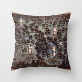 Soot sprites (Susuwatari) Throw Pillow