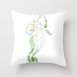 Green seahorse Throw Pillow