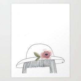 chapeau avec fleur Art Print